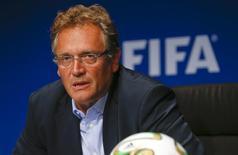 Secretário-geral da Fifa, Jérôme Valcke, em entrevista coletiva em Zurique. 26/09/2014 REUTERS/Arnd Wiegmann