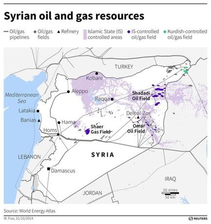 Map of Syria locating oil and gas infrastructure and oil or gas fields under Islamic State control. (SIN04) /REUTERS