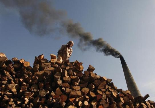 A labourer stacks firewood for use in a brick kiln as smoke billows from a chimney on the outskirts of Jammu May 2, 2012. REUTERS-Mukesh Gupta-Files