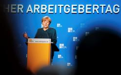 German Chancellor Angela Merkel gives her speech at the annual meeting of the Confederation of German Employers' Association (BDA) in Berlin, November 4, 2014.   REUTERS/Fabrizio Bensch
