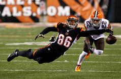 Cincinnati Bengals wide receiver James Wright (86) is unable to make a catch while being defended by Cleveland Browns cornerback Buster Skrine (22) during the second half at Paul Brown Stadium. The Browns won 24-3. Aaron Doster-USA TODAY Sports