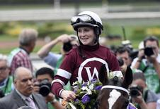 Oct 31, 2014; Santa Anita , CA, USA;  Rosie Napravnik aboard Untapable celebrates victory of race nine of the 2014 Breeders Cup Championships at Santa Anita Park. Mandatory Credit: Richard Mackson-USA TODAY Sports