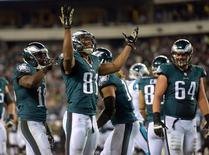 Nov 10, 2014; Philadelphia, PA, USA; Philadelphia Eagles receiver Jordan Matthews (18) celebrates after catching an 18-yard touchdown pass in the fourth quarter against the Carolina Panthers at Lincoln Financial Field. Mandatory Credit: Kirby Lee-USA TODAY Sports