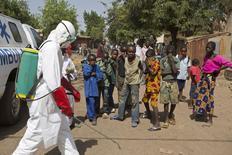 Crianças observam agente desinfetando local em Bamako, no Mali, dia 14 de novembro.  REUTERS/Joe Penney