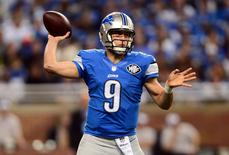 Detroit Lions quarterback Matthew Stafford (9) throws a pass during the second quarter against the Chicago Bears at Ford Field. Mandatory Credit: Andrew Weber-USA TODAY Sports
