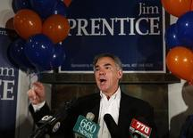 Alberta Premier Jim Prentice addresses supporters after he was elected in the Calgary Foothills riding in Calgary, Alberta, October 27, 2014.  REUTERS/Todd Korol