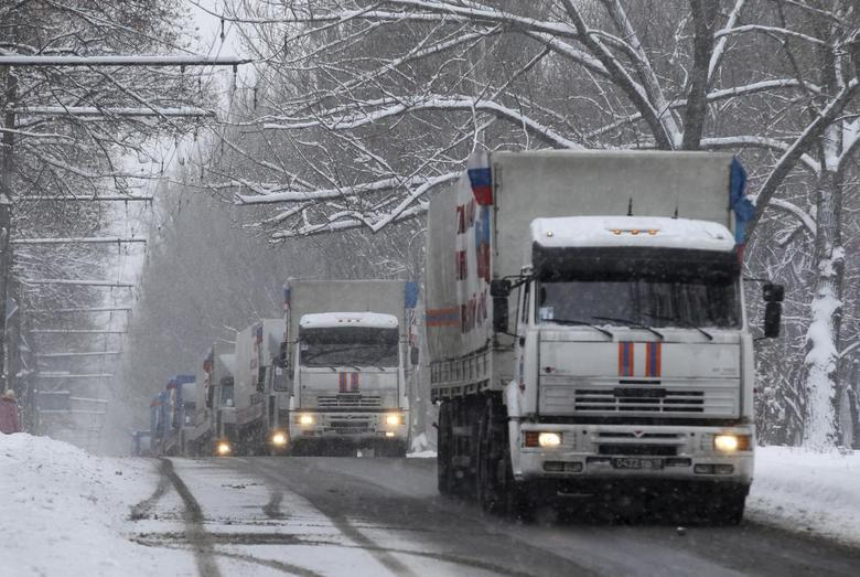 Russian humanitarian trucks are seen in Donetsk, eastern Ukraine, November 30, 2014.  REUTERS/Antonio Bronic