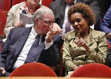 Former Canadian governor-general Michaelle Jean (R) chats with former Canadian prime minister Paul Martin before the Order de la Pleiade ceremony in Gatineau July 7, 2014. REUTERS/Blair Gable