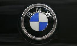 The BMW logo is seen on the back of a finished X4 at the BMW manufacturing plant in Spartanburg, South Carolina March 28, 2014.  REUTERS/Chris Keane