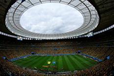 Vista geral do Estádio Nacional Mané Garrincha, em Brasília, antes da decisão do terceiro lugar da Copa do Mundo entre Brasil e Holanda. 12/07/2014.  REUTERS/Ruben Sprich
