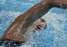 Grant Hackett of Australia swims in the men's 1,500m freestyle final at the National Aquatics Center during the Beijing 2008 Olympic Games August 17, 2008.     REUTERS/Jason Reed
