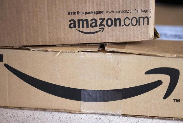 Two freshly delivered Amazon boxes are seen on a counter in Golden, Colorado August 27, 2014.   REUTERS/Rick Wilking
