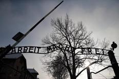 "The sign ""Arbeit macht frei"" (Work makes you free) is pictured at the main gate of the former Auschwitz concentration camp during ceremonies to mark the 69th anniversary of the liberation and commemorate the victims of the Holocaust in Auschwitz January 27, 2014.REUTERS/Kacper Pempel"