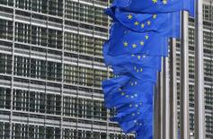 European flags are hung outside the European Commission headquarters in Brussels January 22, 2014. REUTERS/Yves Herman