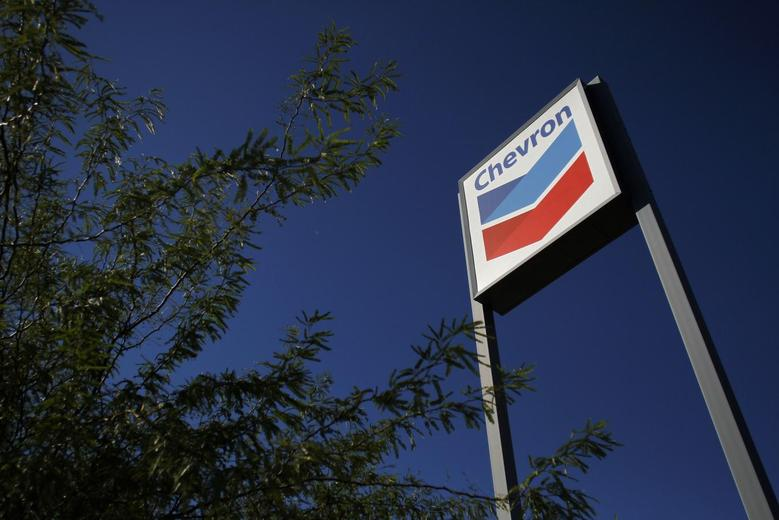 A Chevron sign is displayed at a gas station in Buckeye, Arizona in this October 27, 2011 file photo. REUTERS/Joshua Lott/Files