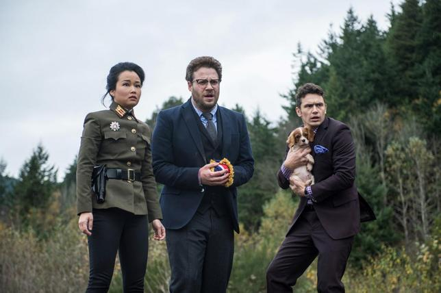 Sook, played by Diana Bang with Aaron, played by Seth Rogen and Dave played by James Franco in The Interview. REUTERS/Handout