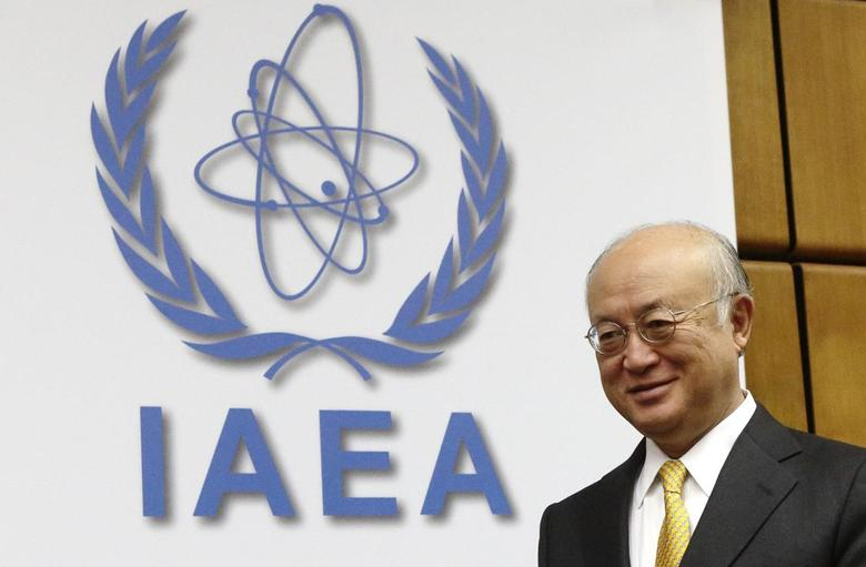 International Atomic Energy Agency (IAEA) director general Yukiya Amano arrives for a board of governors meeting at the IAEA headquarters in Vienna December 11, 2014.    REUTERS/Heinz-Peter Bader