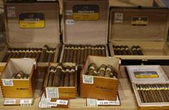 Cuban cigars for sale are on display at a hotel in Havana December 19, 2014. REUTERS/Enrique De La Osa