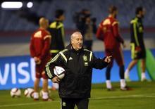 Vicente del Bosque treina seleção espanhola em Vigo. 17/11/2014.   REUTERS/Miguel Vidal