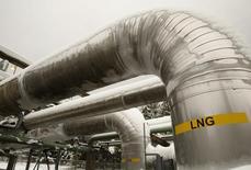 L'effondrement des cours du pétrole a fait une première victime dans le secteur de l'exportation de gaz naturel liquéfié (GNL) aux Etats-Unis avec la mise entre parenthèses d'un projet de terminal au Texas par le groupe Excelerate Energy. /Photo d'archives/REUTERS/Gary Cameron