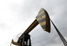 An oil pump, owned by oil company Rosneft, is pictured in the settlement of Akhtyrskaya in Krasnodar region, southern Russia, December 21, 2014.  REUTERS/Eduard Korniyenko