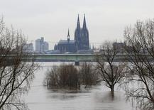 Cologne cathedral is seen with the flooded river Rhine in Cologne, January 9, 2011.  REUTERS/Ina Fassbender