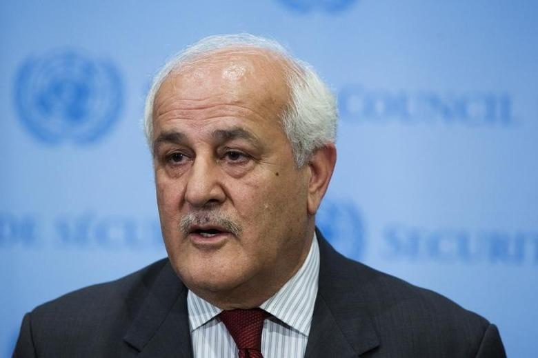 Palestinian U.N. Ambassador Riyad Mansour speaks to the media after a midnight meeting of the Security Council at the U.N. headquarters in New York July 28, 2014. REUTERS/Lucas Jackson/Files