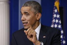 O presidente norte-americano, Barack Obama, concede entrevista coletiva de fim de ano na Casa Branca, em Washington, nos Estados Unidos, em dezembro. 19/12/2014 REUTERS/Kevin Lamarque