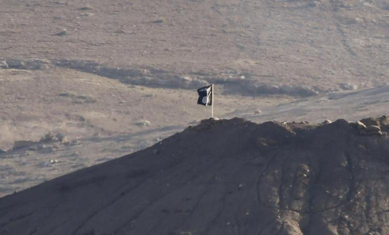 A black flag belonging to the Islamic State is seen near the Syrian town of Kobani, as pictured from the Turkish-Syrian border near the southeastern town of Suruc in Sanliurfa province, October 6, 2014. REUTERS/Umit Bektas
