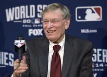 Bud Selig speaks at a press conference before game two of the 2014 World Series between the Kansas City Royals and the San Francisco Giants at Kauffman Stadium. Mandatory Credit: Christopher Hanewinckel-USA TODAY Sports - RTR4B8SA