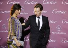 Actors Sophie Hunter (L) and Benedict Cumberbatch pose at the 26th Annual Palm Springs International Film Festival Awards Gala in Palm Springs, California January 3, 2015. REUTERS/Danny Moloshok