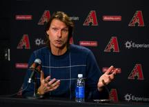 Jan 6, 2015; Phoenix, AZ, USA; Arizona Diamondbacks former pitcher Randy Johnson reacts as he speaks at a press conference to discuss his induction into the baseball Hall of Fame at Chase Field. Mandatory Credit: Mark J. Rebilas-USA TODAY Sports