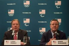 USOC chairman Larry Probst (left) and USOC chief executive officer Scott Blackmun (right) address the media in a press conference following the USOC board of directors meeting at Hotel Sofitel San Francisco. Mandatory Credit: Kyle Terada-USA TODAY Sports