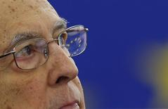 Президент Италии Джорджо Наполитано на дебатах в Европарламенте в Страсбурге. 4 февраля 2014 года. Президент Италии, 89-летний Джорджо Наполитано, в среду ушел в отставку после почти девяти лет у власти, говорится в официальном заявлении. REUTERS/Vincent Kessler