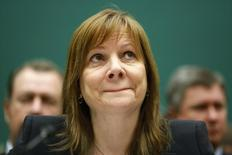 General Motors CEO Mary Barra purses her lips before beginning her testimony before a House Energy and Commerce Oversight and Investigations Subcommittee hearing on the GM ignition switch recall on Capitol Hill in Washington June 18, 2014. REUTERS/Jonathan Ernst