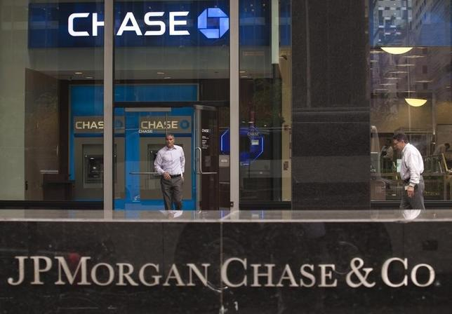 A customer exits the lobby of JPMorgan Chase & Co. headquarters in New York May 14, 2012.  REUTERS/Eduardo Munoz