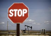 Станок-качалка в Феллоуз, Калифорния 3 апреля 2010 года. Снижение цен на энергоносители ударило по американским производителям нефти и газа, заставив некоторые компании увольнять рабочих, тогда как другие не могут получить кредиты, сообщила в среду Федеральная резервная система (ФРС) США. REUTERS/Lucy Nicholson