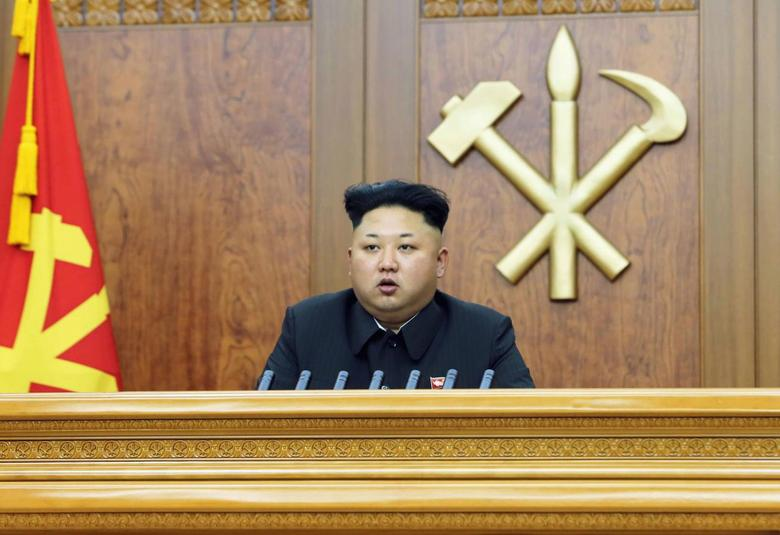 North Korean leader Kim Jong Un delivers a New Year's address in this January 1, 2015 photo released by North Korea's Korean Central News Agency (KCNA) in Pyongyang. REUTERS/KCNA