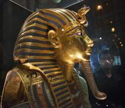 The mask of King Tutankhamun, which was found to have been damaged and glued back together, is seen at the Egyptian Museum in Cairo January 24, 2015. REUTERS/Staff