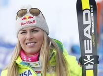 Lindsey Vonn of the U.S. stands in the finsih area after winning the women's Alpine Skiing World Cup Super-G race in the Swiss mountain resort of St. Moritz January 25, 2015. REUTERS/Arnd Wiegmann