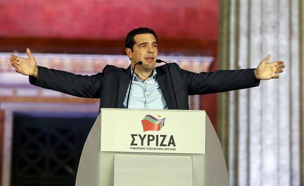 Head of radical leftist Syriza party Tsipras speaks after winning elections in Athens, January 25, 2015. REUTERS/Marko Djurica
