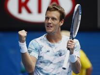 Tomas Berdych of the Czech Republic celebrates after defeating Rafael Nadal of Spain in their men's singles quarter-final match at the Australian Open 2015 tennis tournament in Melbourne January 27, 2015. REUTERS/Issei Kato