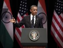 U.S. President Barack Obama addresses a gathering at Siri Fort Auditorium in New Delhi January 27, 2015. REUTERS/Ahmad Masood