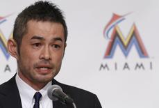 Japan's outfielder Ichiro Suzuki speaks during a news conference to announce an agreement on a one-year contract with the Miami Marlins, in Tokyo January 29, 2015. REUTERS/Yuya Shino