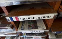 An empty Charlie Hebdo shelf seen in a magazine store in Montreal, January 16, 2015. REUTERS/Christinne Muschi