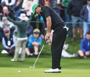 Brooks Koepka putts on 18 to finish the third round of the Waste Management Phoenix Open in a three-way tie for second at 10 under par at TPC Scottsdale. Mandatory Credit: Tom Tingle-Arizona Republic via USA TODAY Sports