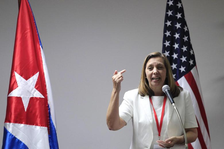 Josefina Vidal, director of U.S. affairs at the Cuban foreign ministry, speaks during a news conference in Havana, January 22, 2015. REUTERS/Stringer