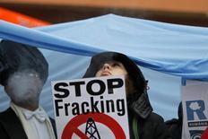 Люди на акции протеста против планов добычи сланцевого газа компанией Chevron в Румынии 21 января 2014 года. Решение Chevron отказаться от поиска сланцевого газа в Польше подчеркнуло, насколько туманны перспективы этого направления и его роль в обеспечении энергобезопасности Европы. REUTERS/Bogdan Cristel