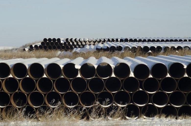 A depot used to store pipes for Transcanada Corp's planned Keystone XL oil pipeline is seen in Gascoyne, North Dakota in this file photo taken on November 14, 2014. REUTERS/Andrew Cullen