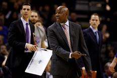 Orlando Magic head coach Jacque Vaughn reacts to an official's call during the second half against the San Antonio Spurs at AT&T Center. Mandatory Credit: Soobum Im-USA TODAY Sports